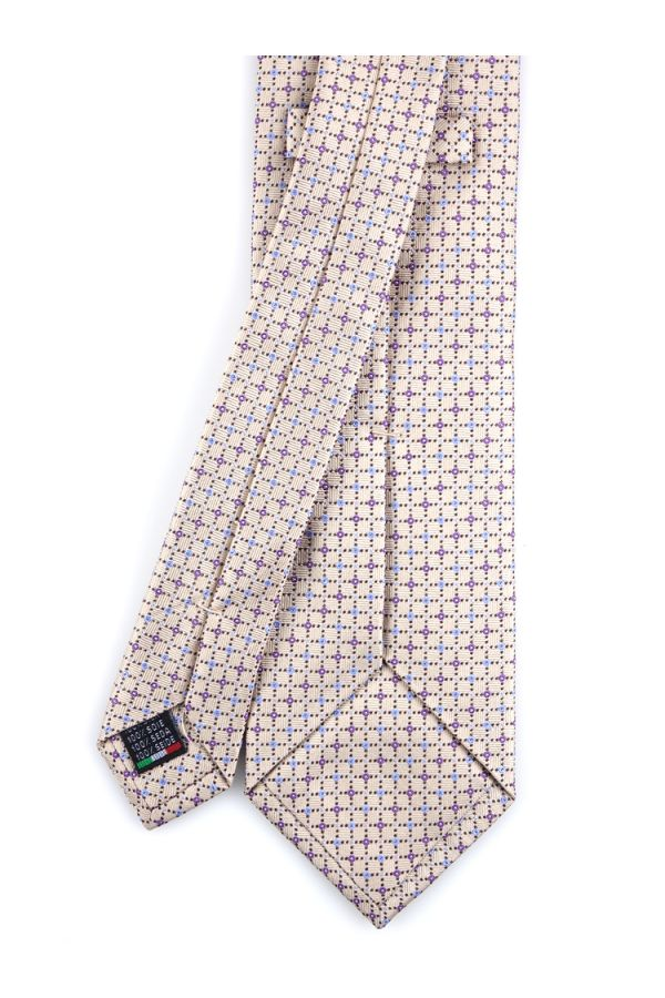Cravatta 3 Pieghe  LB806 in seta tessuta - Beige