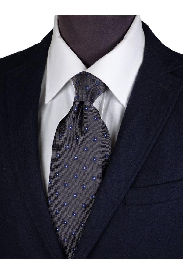 Cravatta 3 pieghe in seta ALFINA-Grigio
