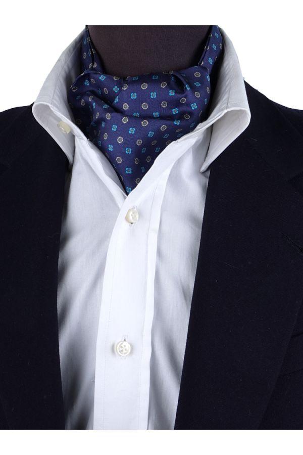 Ascot uomo ALGERI blu in seta stampata
