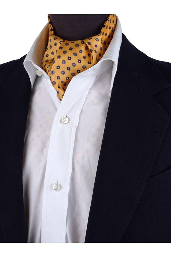 Ascot uomo ALGERI giallo in seta stampata