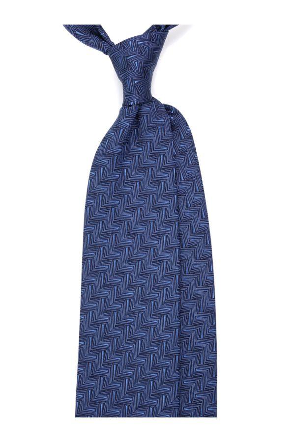 prodotti caldi imbattuto x negozio del Regno Unito Cravatta 3 pieghe AMNESIA in seta tessuta - Blu
