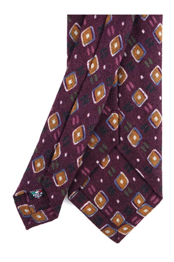 Cravatta 3 pieghe in flanella di lana ANCONA-Bordeaux