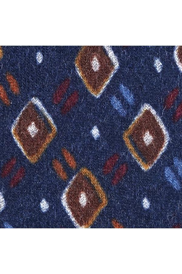 Cravatta 3 pieghe in flanella di lana ANCONA-Blu Scuro