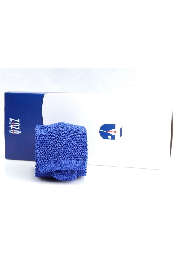Woven silk knitted tie MACCA-Blue Royal