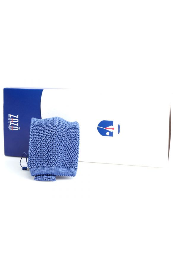 Woven silk knitted tie MACCA-Blue Avion