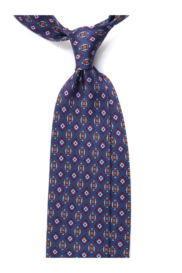 Cravatta 3 Pieghe BARI in seta stampata- Blu Scuro