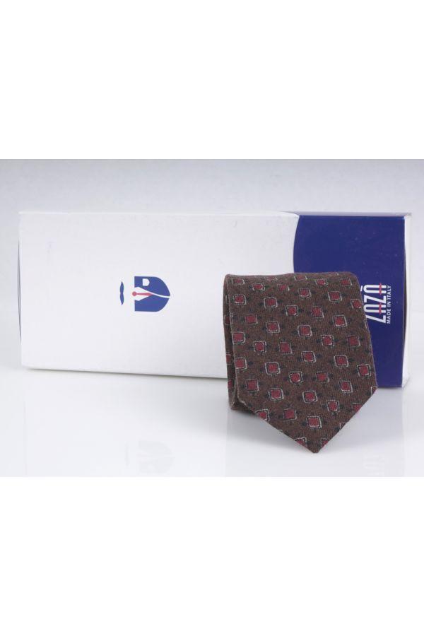 Cravatta 3 pieghe in flanella di lana BERGAMO-Blu Avion