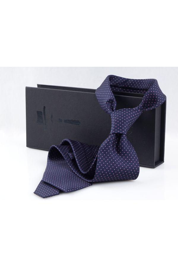 Cravatta 3 pieghe LUPOIS in seta-Blu