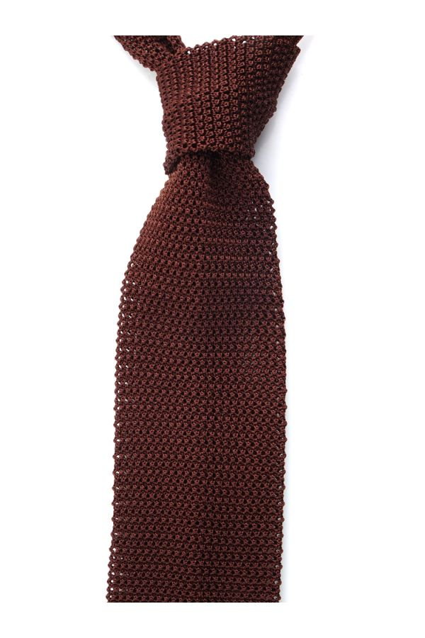 Woven silk knitted tie MACCA-Brown1
