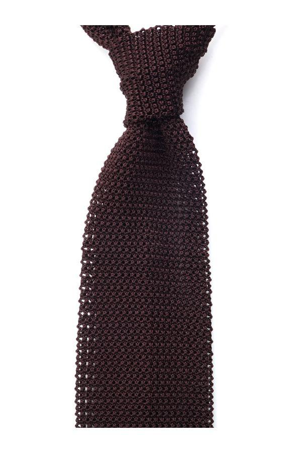 Cravatta a maglia MACCA-Marrone Scuro