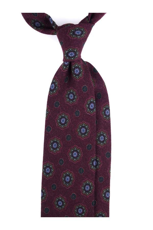Cravatta 3 pieghe in flanella di lana BRESCIA-Bordeaux
