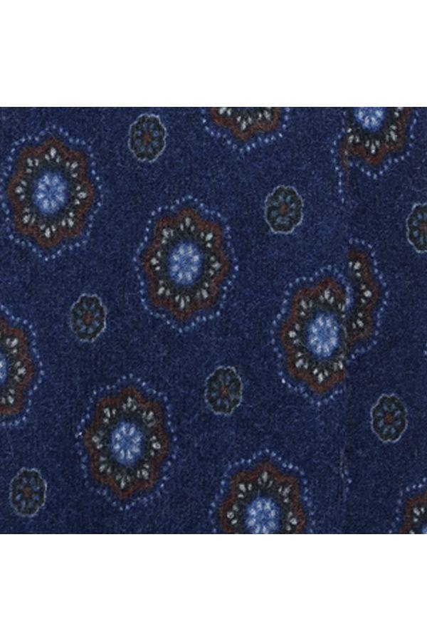 Cravatta 3 pieghe in flanella di lana BRESCIA-Blu