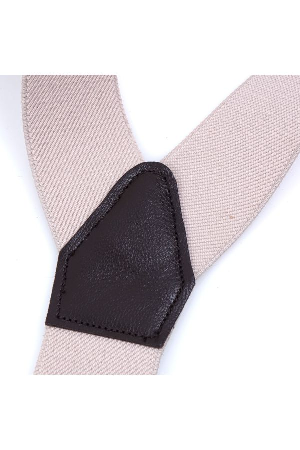 Elastic Beige Braces with clip and laces _ELASTIC