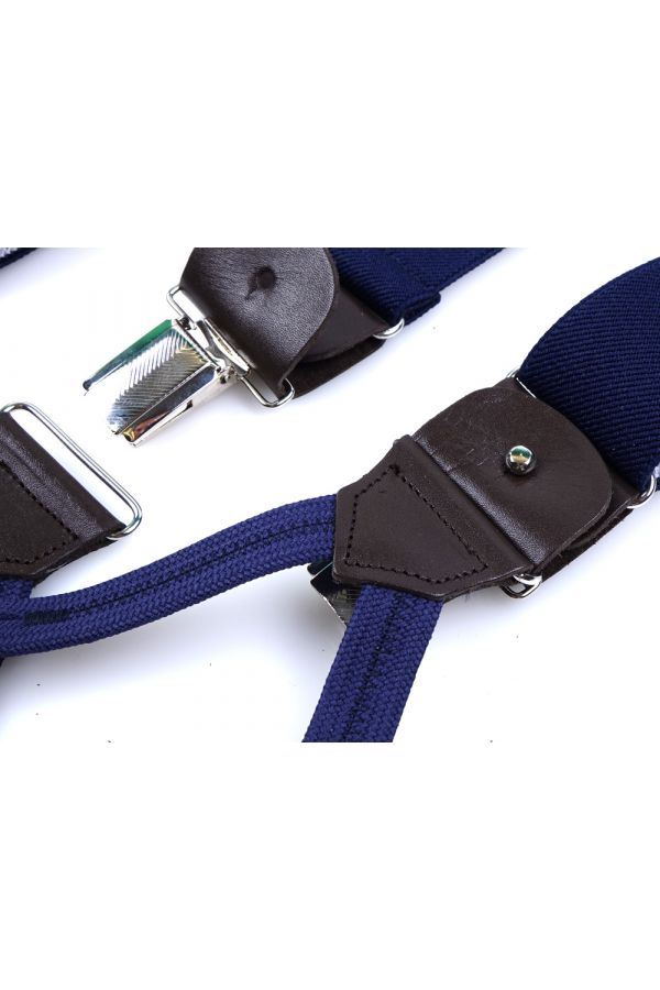 Elastic BLUE Braces with clip and laces _ELASTIC