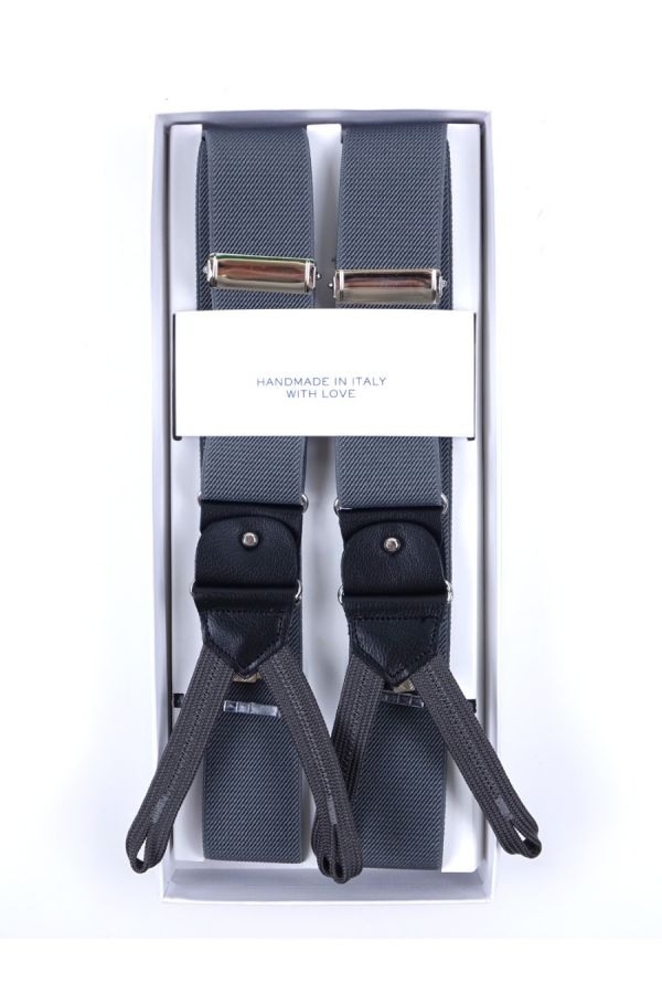 Elastic Grey Braces with clip and laces _ELASTIC