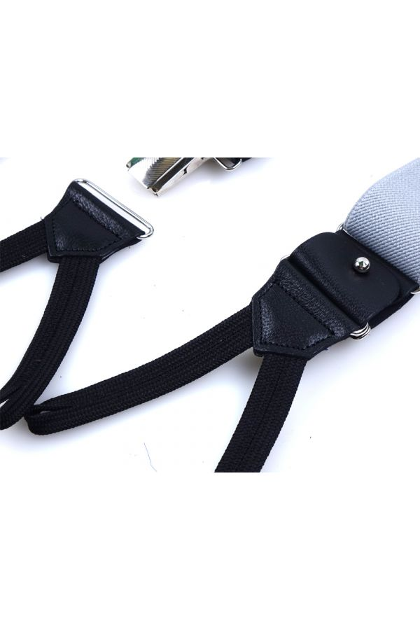 Elastic Light Grey Braces with clip and laces _ELASTIC