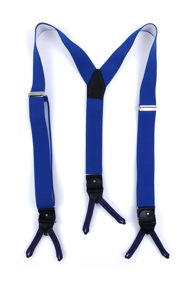 Elastic Blue Royal Braces with clip and laces _ELASTIC