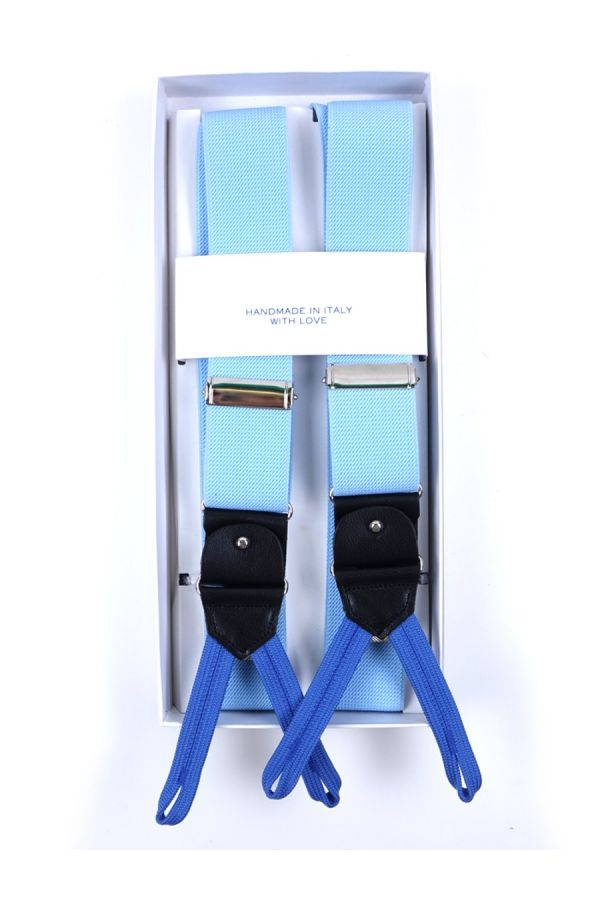 Elastic Sky Blue Braces with clip and laces _ELASTIC
