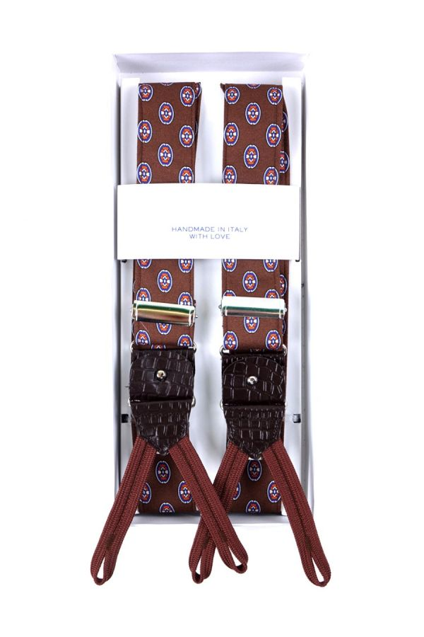Suspenders in BROWN fabric with clips and laces _ CIPRO