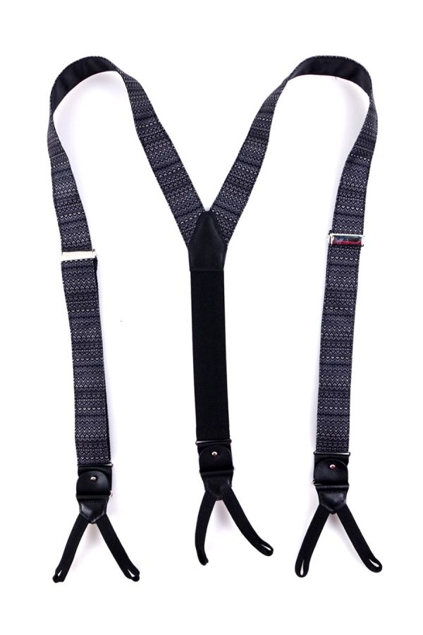 Suspenders in DARK GREY fabric with clips and laces _ BRADANO