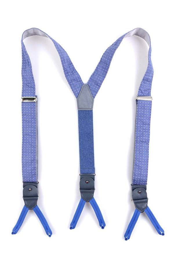 Suspenders in SKY  BLUE fabric with clips and laces _ MAIRA
