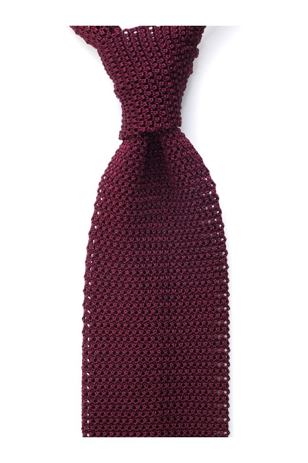 Woven silk knitted tie MACCA-Burgundy