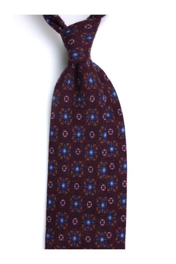 Cravatta 3 pieghe in flanella di lana COSENZA-Bordeaux