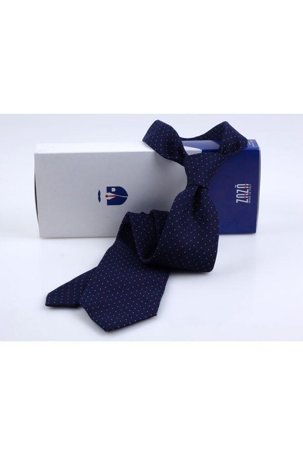 Cravatta 3 Pieghe FIONA in seta lana - Blu