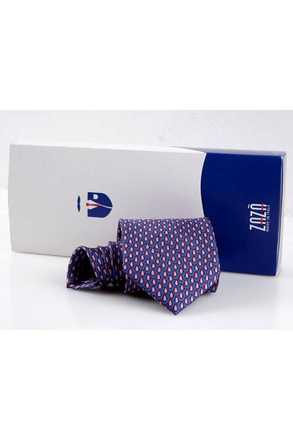 Cravatta 3 pieghe PINGUINO in seta twill - Blu