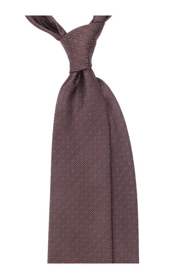 Cravatta 3 pieghe GESIO in seta TESSUTA - Marrone