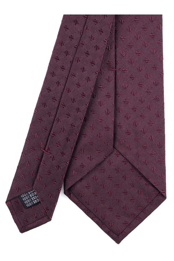 Cravatta 3 pieghe PETAL in seta TESSUTA - Bordeaux
