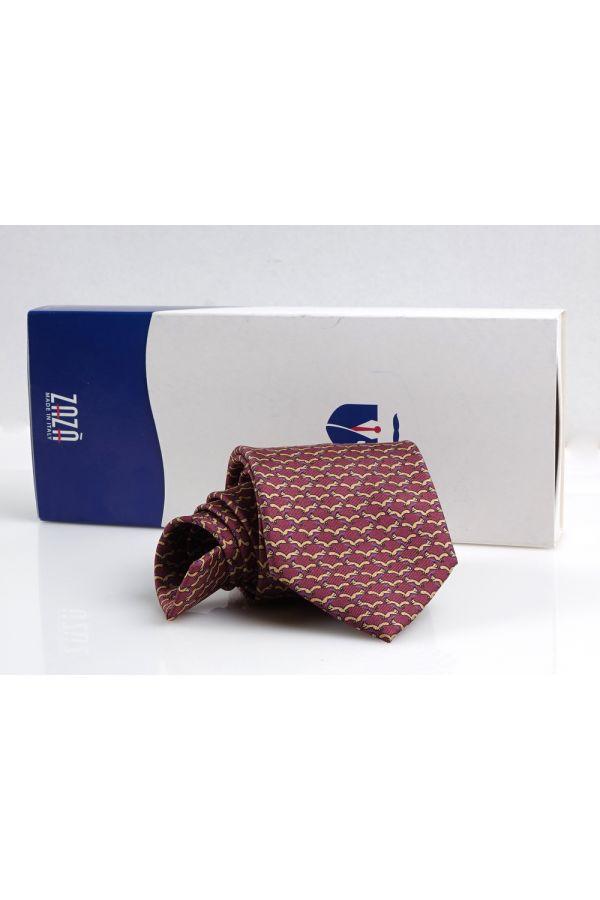 Cravatta 3 pieghe SCOIATTOLO in seta twill - Bordeaux