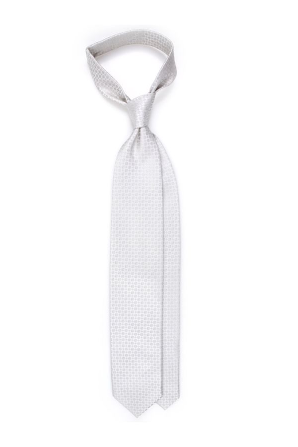 Cravatta 3 pieghe COCO in seta TESSUTA - Grigia