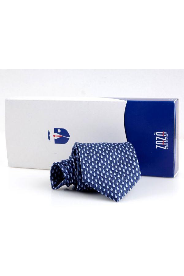 Cravatta 3 pieghe PINGUINO in seta twill - Blu scuro