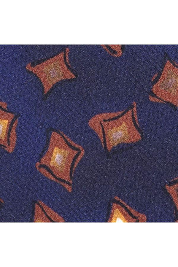 Cravatta 3 Pieghe SOLEIL in garzetta di seta stampata - Blu Scuro