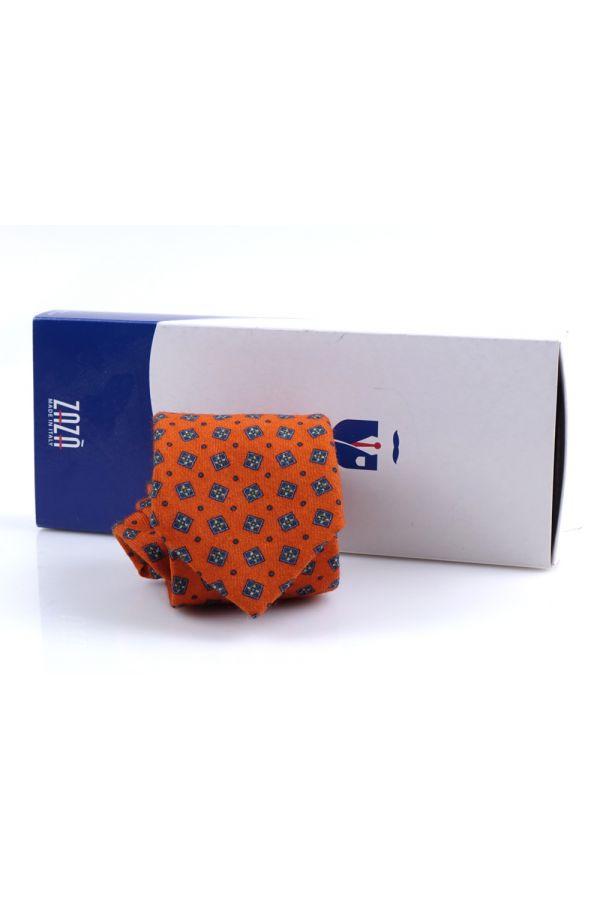 Cravatta 3 pieghe in flanella di lana JESSI - Arancione