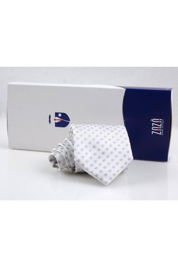 Cravatta 3 pieghe PETAL in seta TESSUTA - Grigio Perla