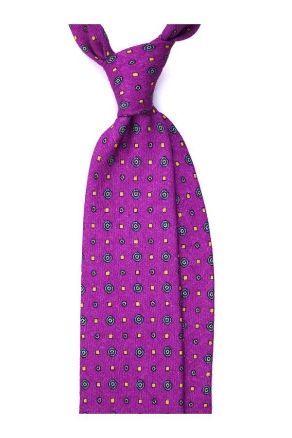 Cravatta 3 pieghe in flanella di lana PAM - Viola