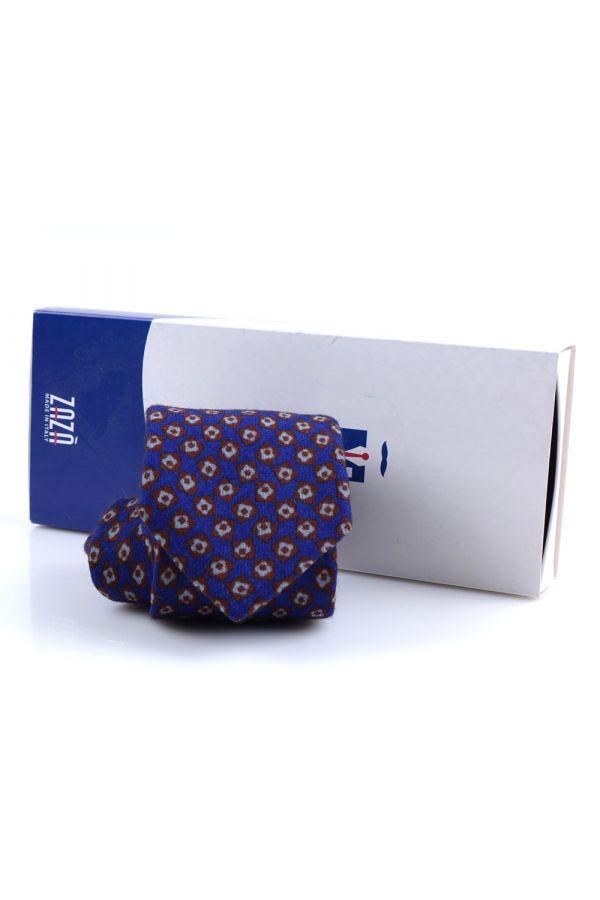 Cravatta 3 pieghe in flanella di lana CHOCO -Blu Elettrico