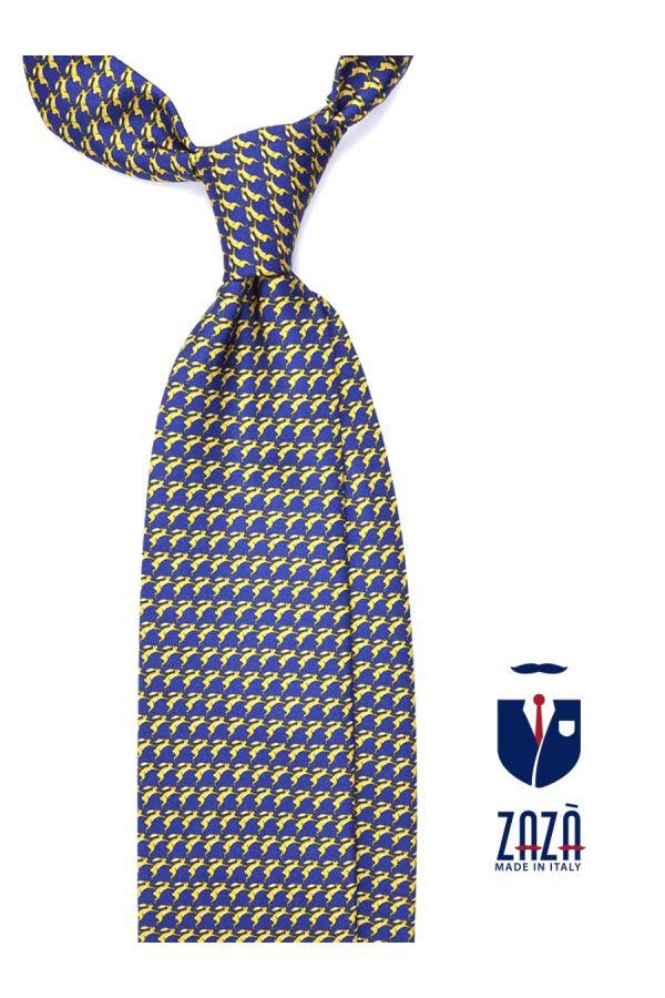 Cravatta 3 pieghe LEPRE in seta twill - Blu