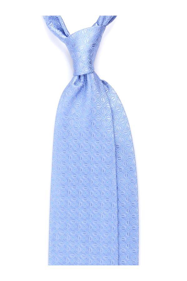 Cravatta 3 pieghe BIGLIE in seta TESSUTA - Celeste