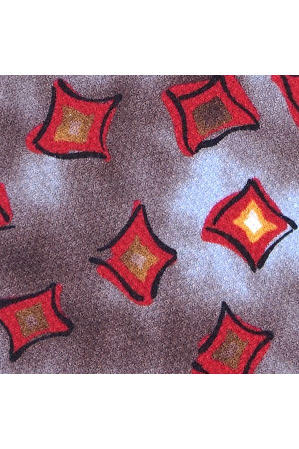 Cravatta 3 Pieghe SOLEIL in garzetta di seta stampata - Celeste-Grigia