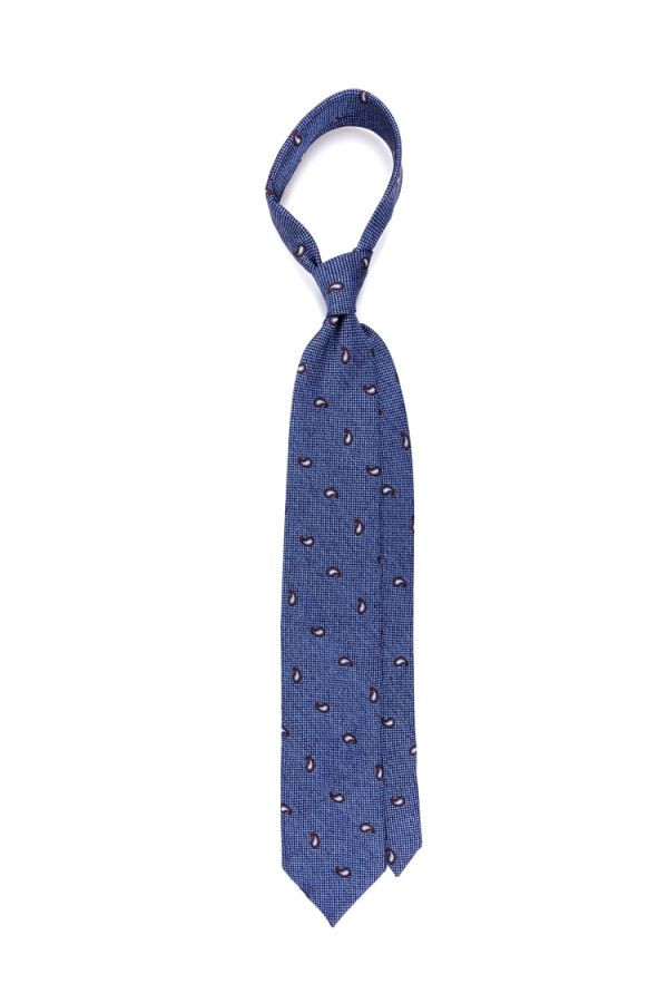 Cravatta 3 Pieghe SEED in seta/cotone tessuta - Celeste