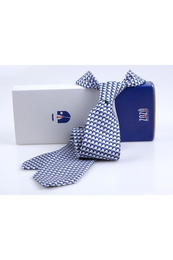 Cravatta 3 pieghe LEPRE in seta twill - Bianca