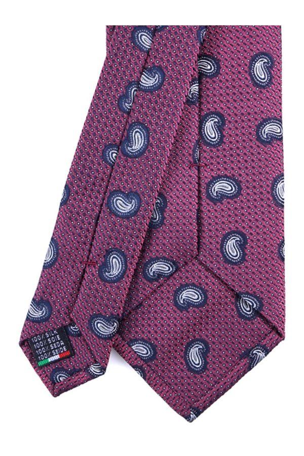 Cravatta 3 Pieghe  CORNELIA in seta tessuta - Rosso Scuro