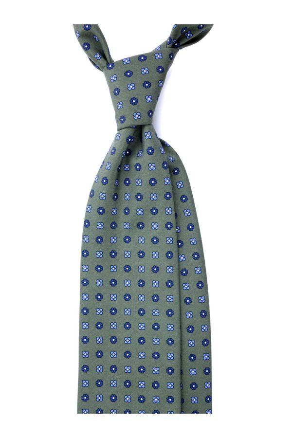 Cravatta 3 Pieghe CARACAS Seta madder - Verde