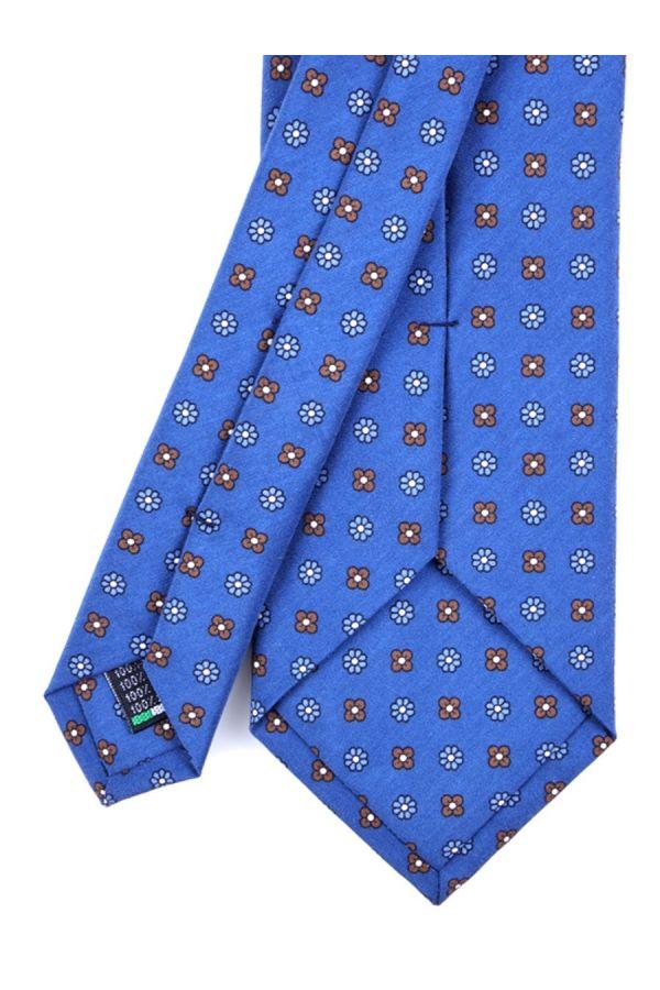 Cravatta 3 Pieghe CARACAS Seta madder - Blu Scuro/Marrone