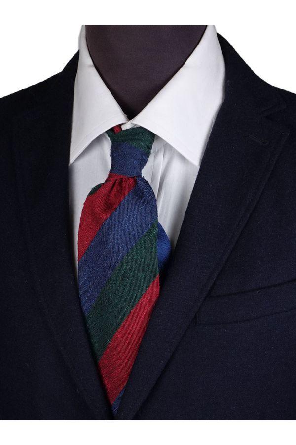 Cravatta 3 Pieghe BIBIA Seta shantung- Blu/Rosso