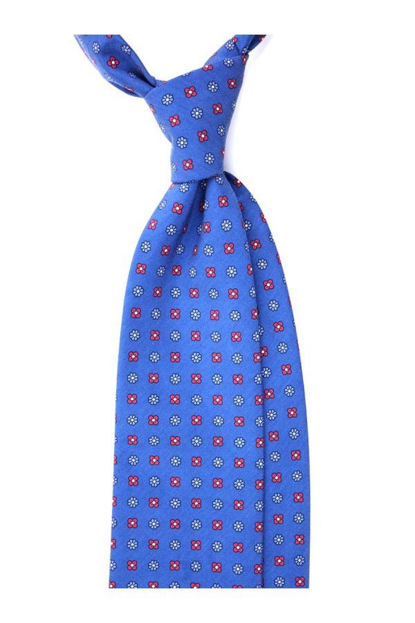 Cravatta 3 Pieghe CARACAS Seta madder - Blu Scuro/Rosso