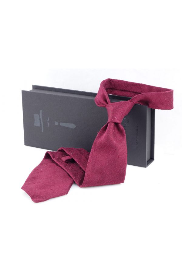 Cravatta 3 Pieghe FARMA Seta shantung- Rossa